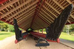 Waitangi Treaty Grounds, New Zealand. The richly carved prows of two Maori war canoes. These waka taua, or Maori war canoes, are stored in a building on the stock photos