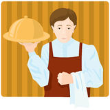 Waiter. The waiter with a tray stock illustration