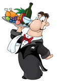 Waiter. An illustration of a waiter with a tray Royalty Free Stock Image