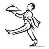 Waiter. With tray of food in hand Stock Images