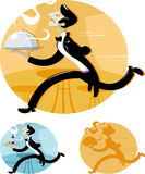 Waiter. A cartoon waiter running with tray of food in restaurant Royalty Free Stock Image