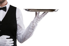Waiter arm holding tray over white background. Royalty Free Stock Image