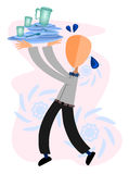 Waiter balancing dishes Royalty Free Stock Image