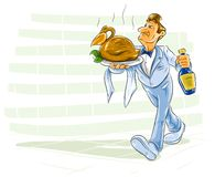 Waiter bearing a dish with bird and drink Stock Images