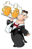 Waiter with beer. Illustration of a waiter with beer Stock Images