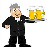 Waiter and beer. A waiter in a black suit with bow tie carries beer Stock Images