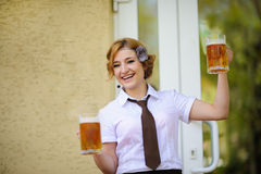 Waiter with beer Royalty Free Stock Photos