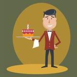 Waiter with  birthday cake . Stock Photography