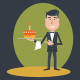 Waiter with  birthday cake . Stock Photos
