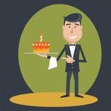 Waiter with  birthday cake . Stock Photos