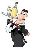 Waiter with bottle. Illustration of a waiter with bottle Royalty Free Stock Image