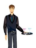 Waiter brings glasses. The young waiter brings glasses from martini Royalty Free Illustration