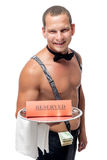waiter brings on a tray a reserve Royalty Free Stock Photos