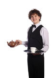 Waiter with brown ceramic teapot Stock Photography