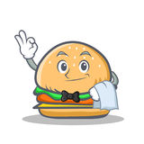 Waiter burger character fast food Royalty Free Stock Images