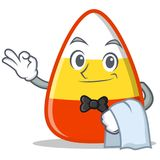 Waiter candy corn character cartoon. Vector illustration Royalty Free Stock Image