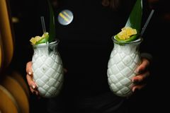 Waiter carries two white cocktails.  royalty free stock photos