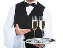 Waiter carrying champagne flutes on tray. Midsection of waiter carrying champagne flutes on tray over white background Royalty Free Stock Images