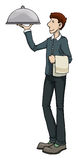 Waiter carrying a dish. Vector illustration Stock Images