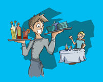 Waiter carrying drinks and dishes Stock Image