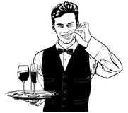 Waiter Carrying Drinks and Showing Delicious Royalty Free Stock Images