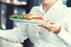 The waitress is carrying a plate of food to the client royalty free stock images