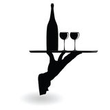 Waiter carrying wine glasses on the tray black silhouette Royalty Free Stock Image