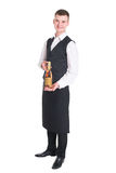 Waiter with champagne bottle Royalty Free Stock Photography