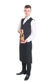 Waiter with champagne bottle Stock Image