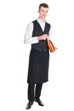 Waiter with champagne bottle Royalty Free Stock Images