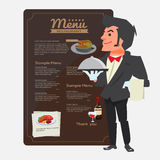 Waiter. character design. Presenting concept. Restaurant Menu in Stock Image