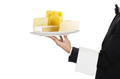 Waiter with cheese Royalty Free Stock Images
