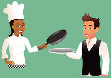 Waiter and Chef. An illustration of two people - one a waiter, the other a chef. Silver tray and saucepan have been left empty for your own food items. E.P.S. 10 Stock Image
