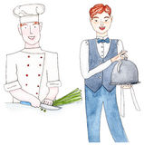 Waiter and chef, set. Set of chef and waitor in uniform - watercolor illustration on white Stock Photo