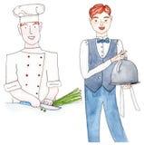 Waiter and chef, set Stock Photo