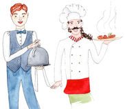 Waiter and chef, set - watercolor illustration on white. Set of hand-drawn restaurant staff: waiter and chef in uniform royalty free illustration