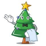 Waiter Christmas tree character cartoon. Vector illustration Stock Photos