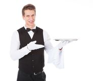 Waiter With Cloche Lid Cover Stock Photography