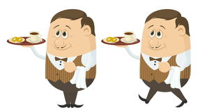 Waiter with Coffee and Buns Seamless Loop stock video footage