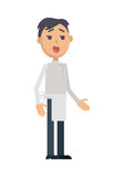 Waiter or Cook Character Flat Style Vector Icon. Waiter or cook character icon. Smiling brunet man in apron flat vector isolated on white background. Maid or Stock Photography