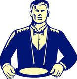 Waiter Cravat Serving Plate Woodcut Stock Photography