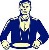 Waiter Cravat Serving Plate Woodcut Stock Photography