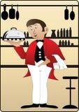 Waiter on cream background Stock Photography