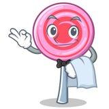 Waiter cute lollipop character cartoon. Vector illustration Royalty Free Stock Photo
