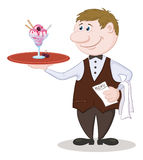 Waiter Deliver Ice Cream Stock Images