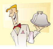 Waiter and dish Royalty Free Stock Image