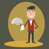 Waiter with dish on outstretched arm. Stock Image
