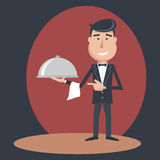 Waiter with dish on outstretched arm. Stock Images
