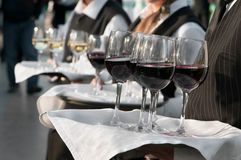 Waiter. With dish of wine glasses Royalty Free Stock Photography