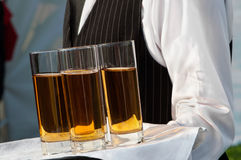 Waiter. With dish of wine glasses Royalty Free Stock Image